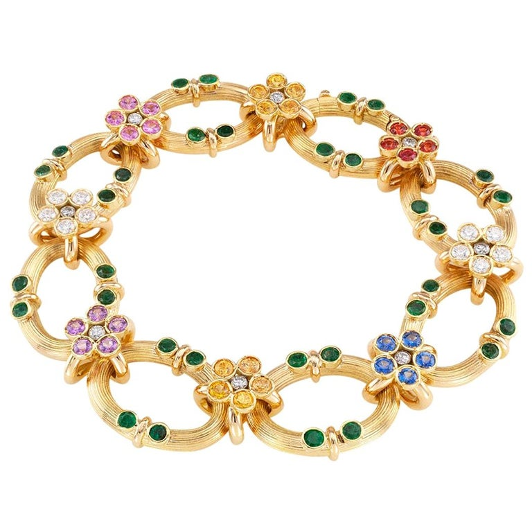 Multicolored Sapphire Emerald Diamond Yellow Gold Link Bracelet For Sale