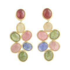 Multicolored Sapphire Marco Bicego Siviglia Earrings, 18k Gold Pierced Dangles
