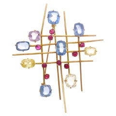 Multicolored Sapphire Ruby Gold Brooch Pin