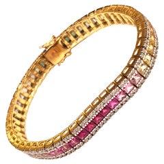 Multicolored Sapphire with Diamond 2.03 Carat Bracelet in 18 Karat Gold