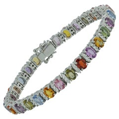 Multicolored Sapphire with Diamond Bracelet in 18 Karat White Gold Settings