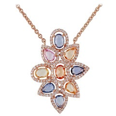 Multicolored Sapphires and Diamond Pendant Necklace, Set in 18 Karat Rose Gold