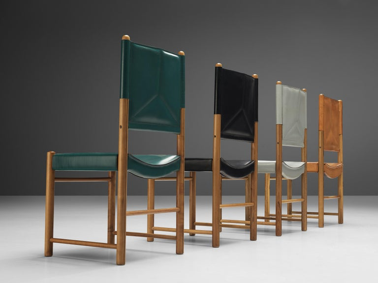 Post-Modern Multicolored Set of 12 Italian Dining Chairs in Leather For Sale