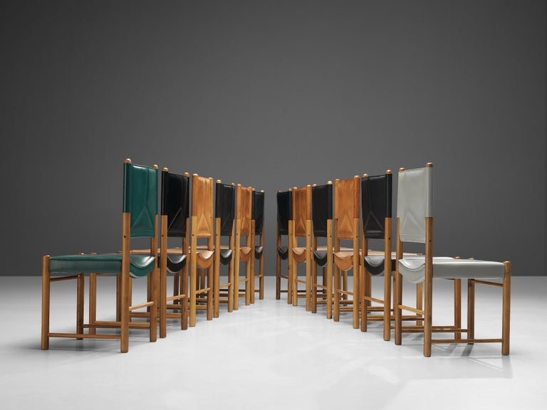 Late 20th Century Multicolored Set of 12 Italian Dining Chairs in Leather For Sale