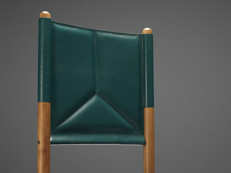 Multicolored Set of 12 Italian Dining Chairs in Leather For Sale 1