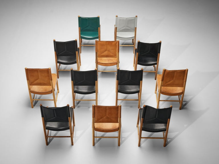 Multicolored Set of 12 Italian Dining Chairs in Leather For Sale 2