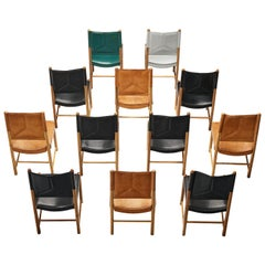 Multicolored Set of 12 Italian Dining Chairs in Leather