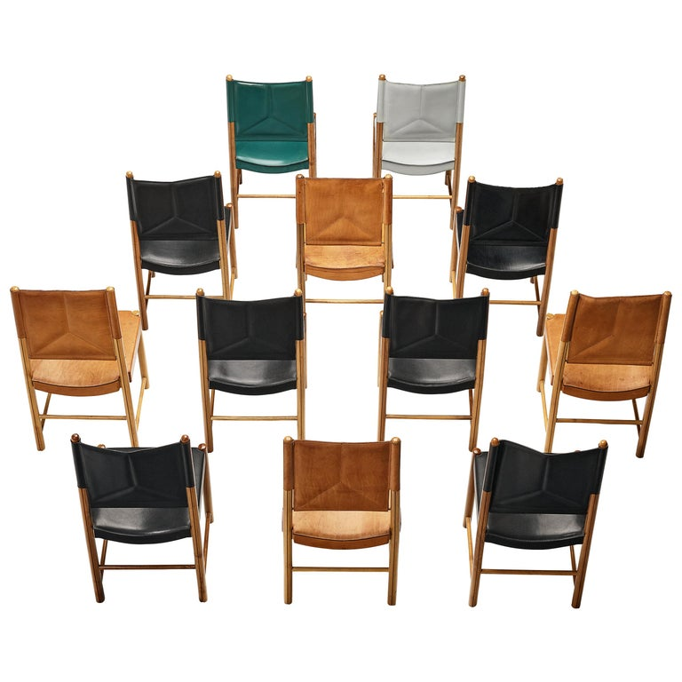 Multicolored Set of 12 Italian Dining Chairs in Leather For Sale