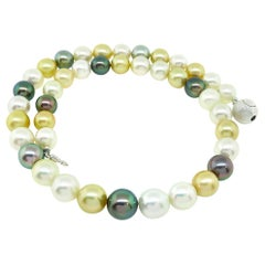 Multicolored South Sea Pearl with Silver Clasp Necklace