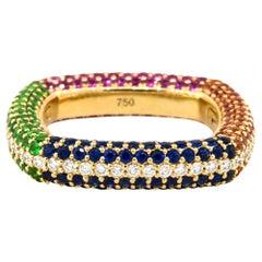 Multicolored Stone Pave Ladies Ring 18 Karat in Stock