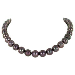 Multicolored Tahitian Cultured Pearl and Diamond Necklace