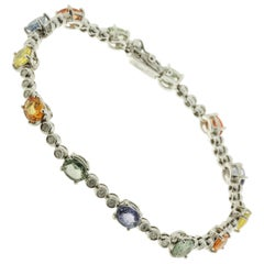 Multicolored Tennis Bracelet in White Diamond, Sapphires and White Gold