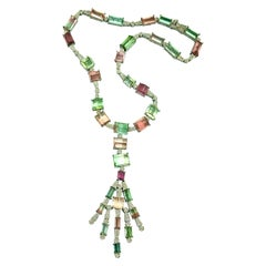 Multicolored Tourmaline Necklace Diamonds 18 Karat and Silver