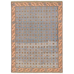 Multicolored Vintage Indian Cotton Dhurrie Rug with All-Over Geometric Design