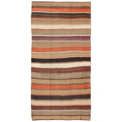 Multicolored Vintage Kilim Rug with Horizontal Stripes in Orange, Taupe