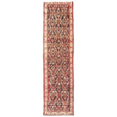 Multicolored Vintage Persian Malayer Runner with Sub-Geometric Floral Design