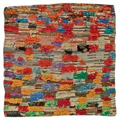 Multicolored Vintage Tribal Design Handmade Wool Moroccan Rug
