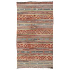Multicolored Vintage Turkish Large Kilim Rug with Stripes Design