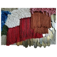 Multi color Fiber Art Weaving with Brass by All Roads