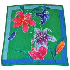 MultiColors With Green Orchids Silk Scarf
