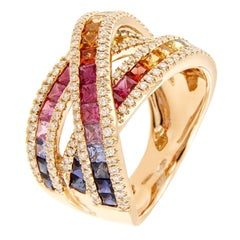 Multi-Color Princess Cut Sapphire and White Diamonds Pink Gold Cocktail Ring
