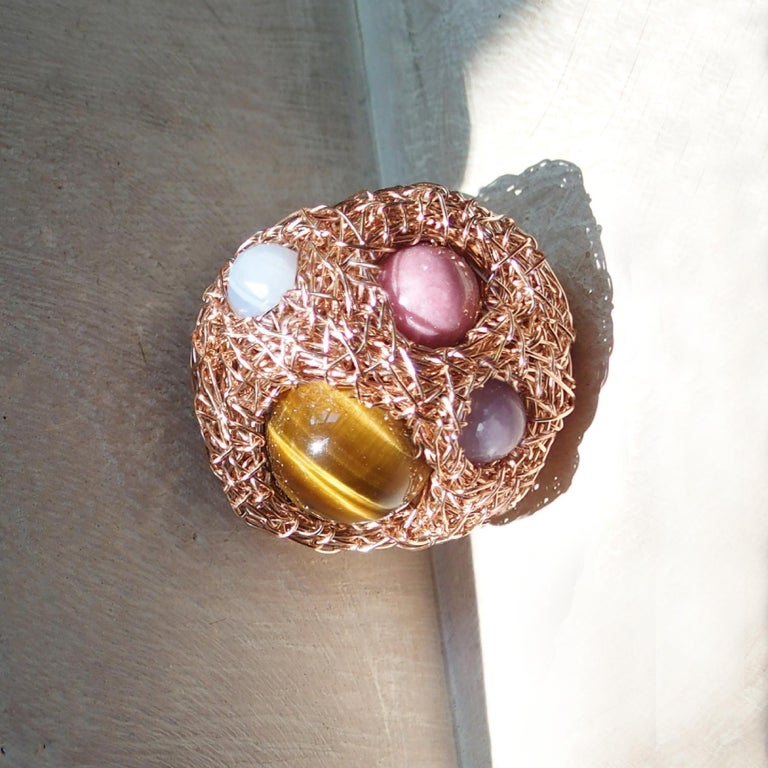 Contemporary Multicolour Round Stone Woven Statement Cocktail Ring by Sheila Westera in Stock For Sale
