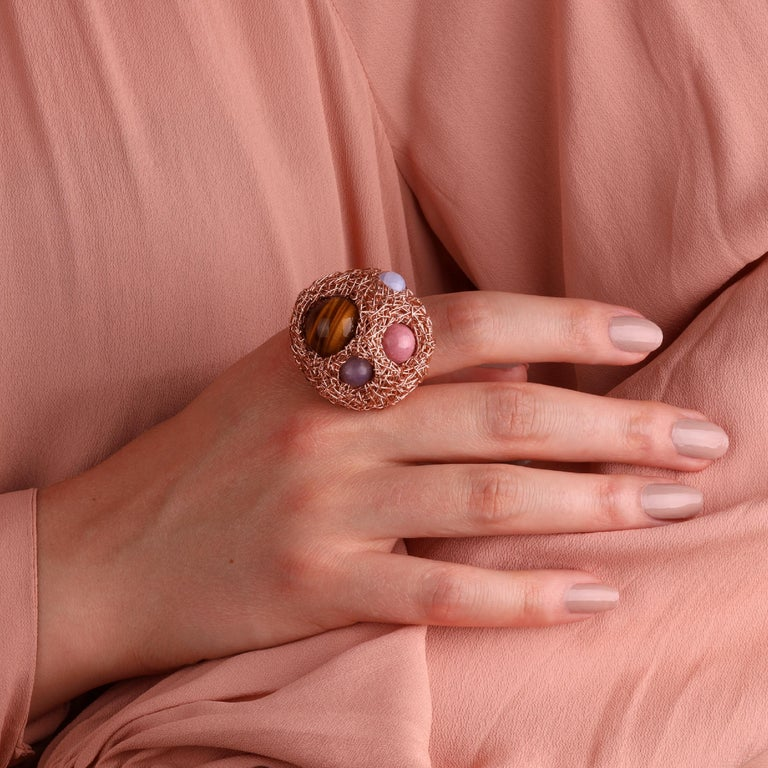 Multicolour Round Stone Woven Statement Cocktail Ring by Sheila Westera in Stock For Sale 1