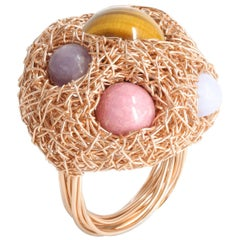 Multicolour Round Stone Woven Statement Cocktail Ring by Sheila Westera in Stock