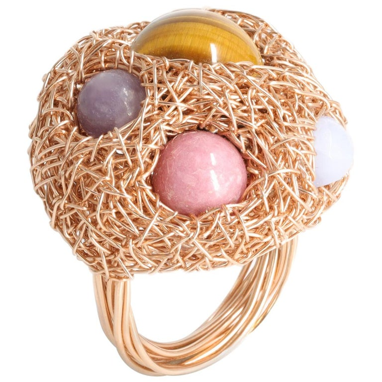 Multicolour Round Stone Woven Statement Cocktail Ring by Sheila Westera in Stock For Sale