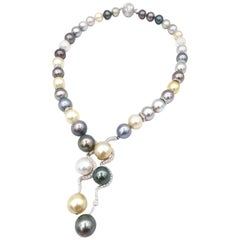 Multicolour South Sea and Tahitian Pearl Necklace with Diamond Embellishment