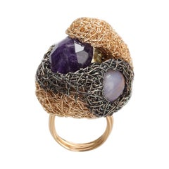 Artist Statement Multicolour Stone in 14k Yellow Woven Statement Cocktail Ring