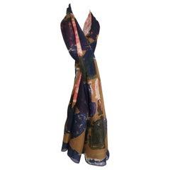 Multicoloured silk scarf foulard