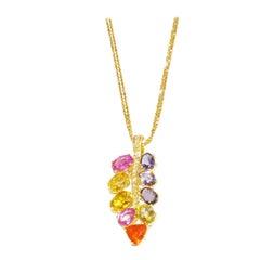 Multicoloured Stone Diamond Locust Leaf 18 Karat Yellow Gold Pendant Necklace