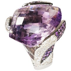 Multifaceted 32 Carat Amethyst with Diamonds and 18 Karat White Gold Ring