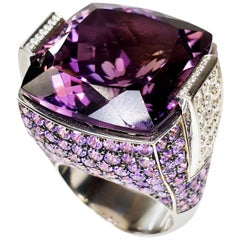 Multifaceted 35 Carat Amethyst with Diamonds and 18 Karat White Gold Ring