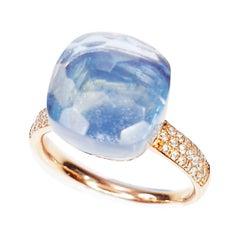 Multifaceted Blue Splash Quartz in 18k Rose Gold and Pavé of Diamonds Ring