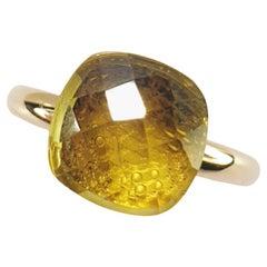 Multifaceted Lemmon Quartz 18 Karat White and Rose Gold Fashion Ring