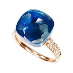 Multifaceted Medium Blue Ocean Quartz in 18k Rose Gold and Pavé of Diamonds Ring