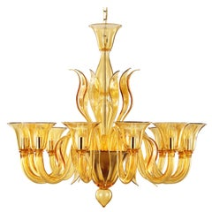 Italian Chandelier, 12 arms Amber Murano Glass by Multiforme