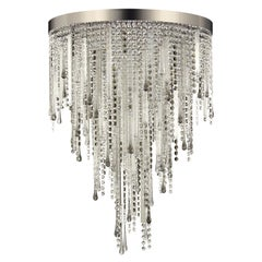 Multiforme Vanity Ceiling Light, Cut Crystals, Swarovski Elements, Grey Pendants