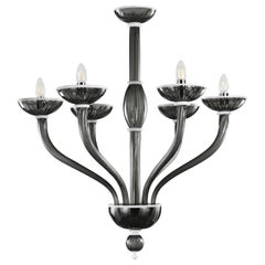 Velvet Chandelier 6 Lights Dark Grey Murano Glass, White Details by Multiforme