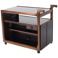 Multifunctional Danish Rosewood Drop Leaf Bar Tea Cart Mid-Century Modern