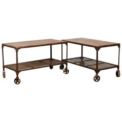 Multifunctional Industrial Wheeled Table, 20th Century