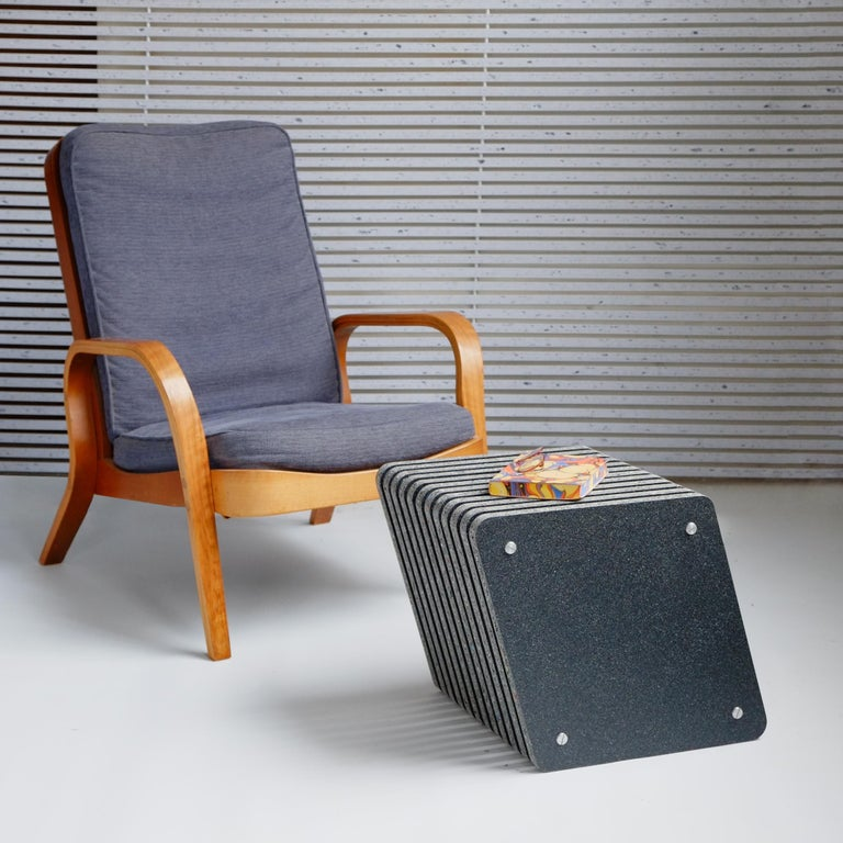 Sustainable Grey - Black Side Table made in Recycled Plastic - Jää Cube For Sale 2