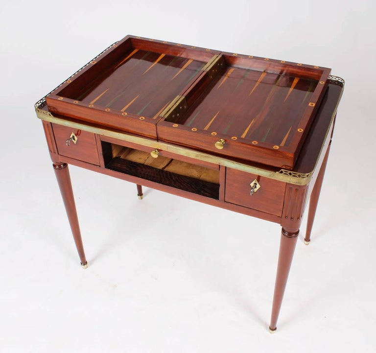 Empire Multifunctional Table, Dressing, Chess, Writing Desk, Mahogany, 19th Century For Sale