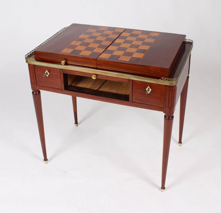 German Multifunctional Table, Dressing, Chess, Writing Desk, Mahogany, 19th Century For Sale