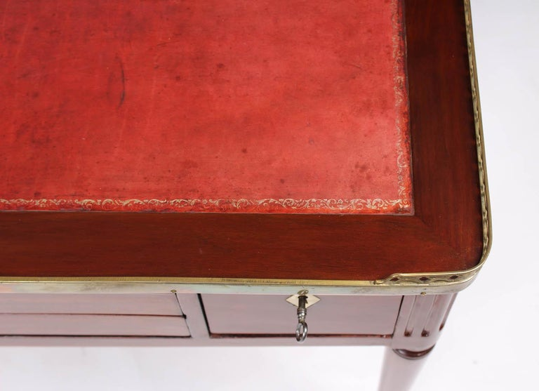 Leather Multifunctional Table, Dressing, Chess, Writing Desk, Mahogany, 19th Century For Sale