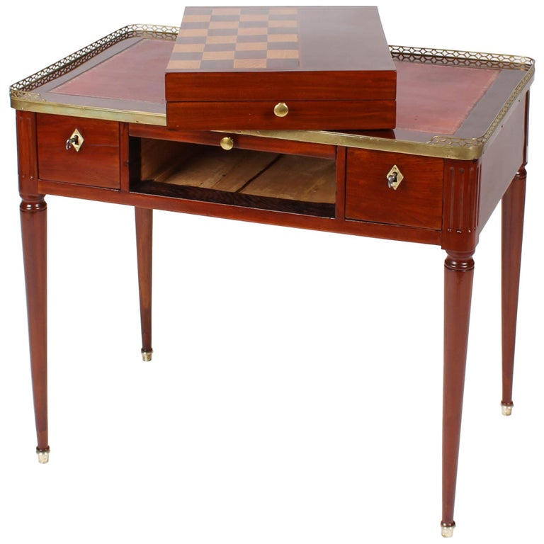 Multifunctional Table, Dressing, Chess, Writing Desk, Mahogany, 19th Century For Sale