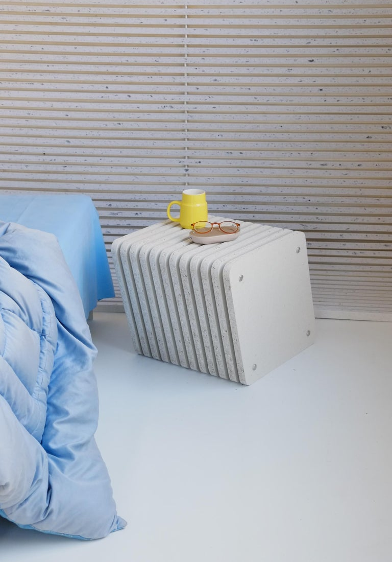 Metalwork Sustainable White Side End Table made in Aluminium & Recycled Plastic - Jää Cube For Sale
