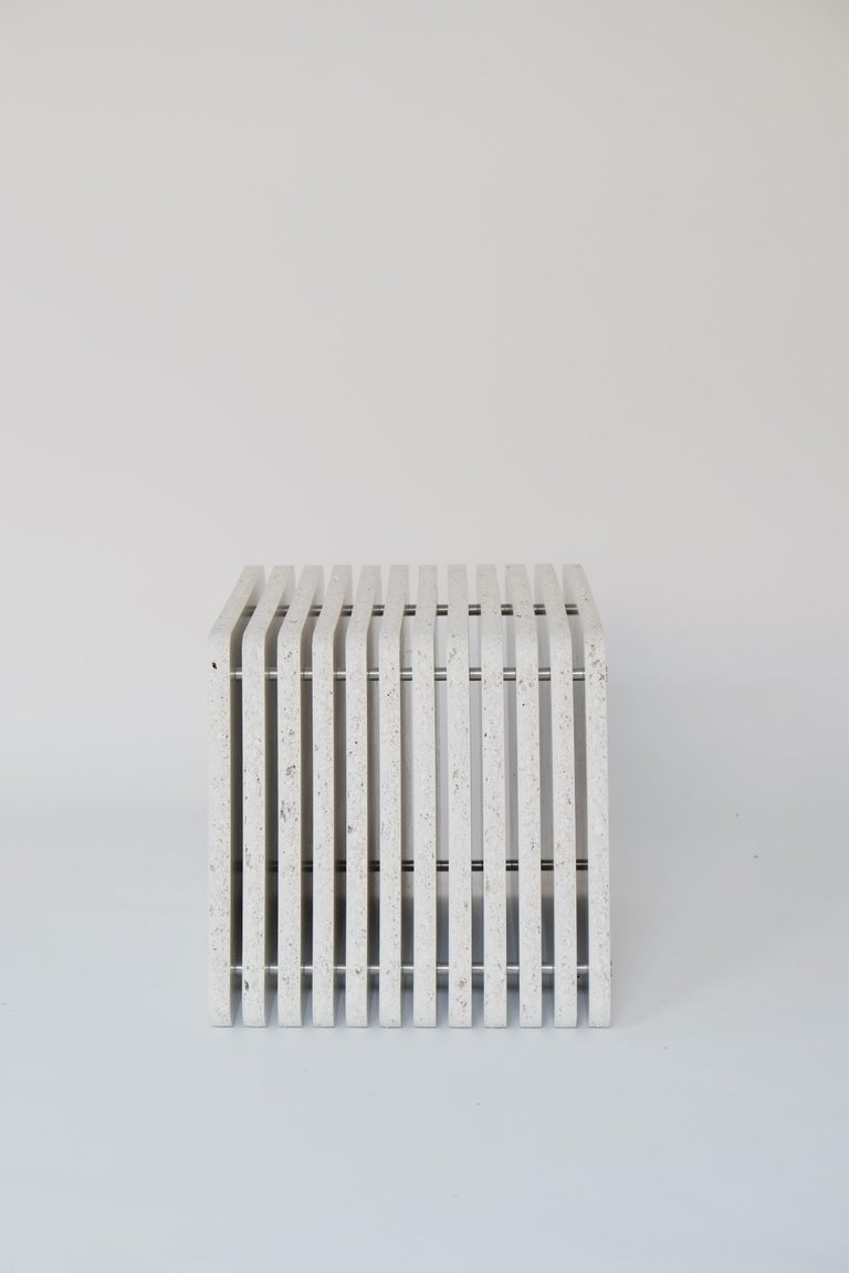 Sustainable White Side End Table made in Aluminium & Recycled Plastic - Jää Cube In New Condition For Sale In Leicester, GB